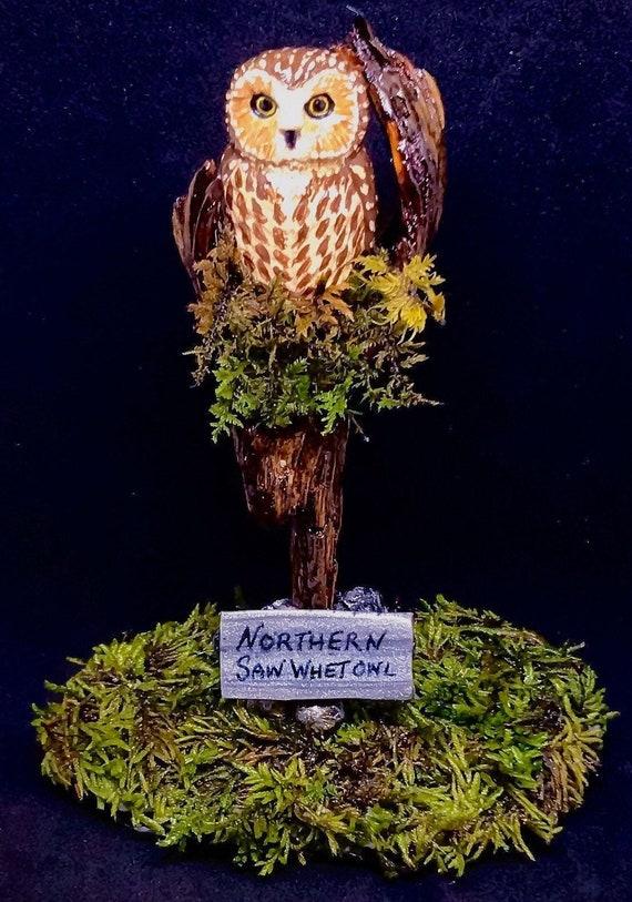 Northern Saw Whet Owl Hand Sculpted Polymer Clay,Owl Totem,Spirit Animal,Owl Figurine,Moss,Wood Art,Owl Art,Owl Painting