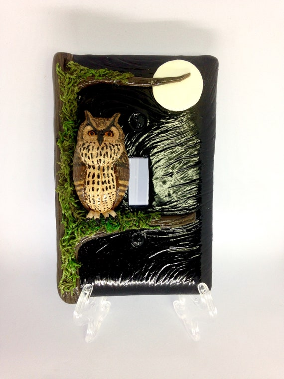 Great Horned Owl 3D Light Switch Plate/Cover,Polymer Clay Owl,Owl Totem,Owl Spirit Animal,3D Art,Mixed Media Art,Owl Art