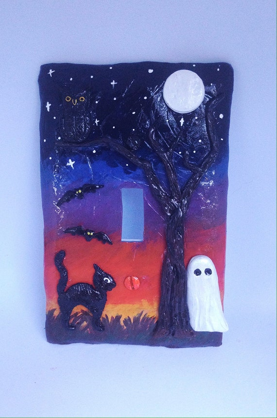 Ooak Halloween Light Switch Plate ,Halloween Decor, Fall Decor,Polymer Clay Owl,Halloween Party,Mixed Media Light Switch Plate,Fall Party