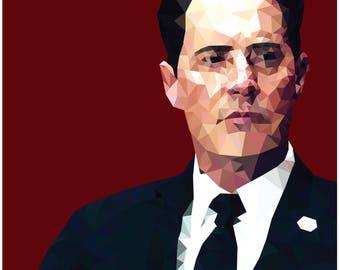 Special Agent Dale Cooper Low-Poly Portrait A3 Print