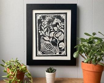 Linocut Print, Botanical Linocut, Botanical Print, Relief Print, Block Print, Earthy Art Print, Wall Decor
