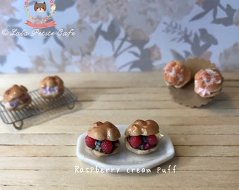 Cream puff earrings, polymer clay earrings, food jewelry, food earrings, dessert jewelry, earrings, girls earrings, kawaii earrings