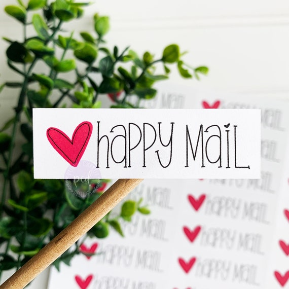 "50 Happy Mail 2/"" Circle Label Sticker Heart Round Labels Envelope"