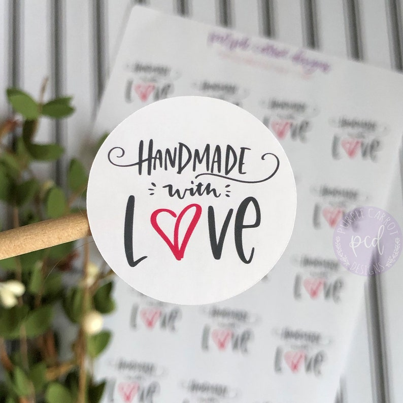 ae64923fbb0d2 Handmade With Love Sticker, Thank You Stickers, Happy Mail Stickers,  Shipping Stickers, Handmade Stickers, Etsy Shop Sticker