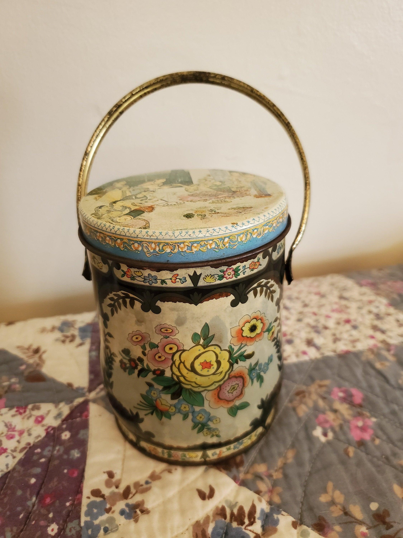 vintage murray allen regal crown tin birds floral candy
