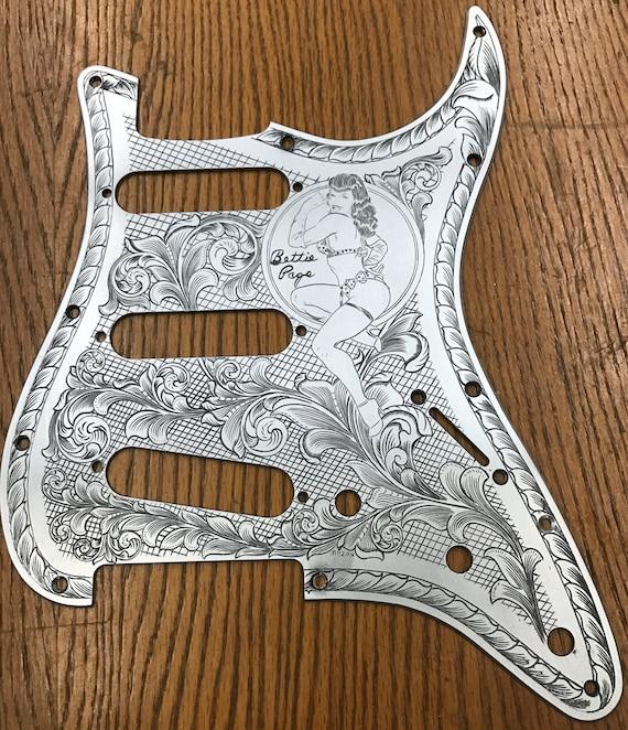 Mano personalizado grabado Stratocaster Pick Guard