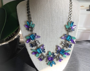 Purple Green and Blue Statement Necklace