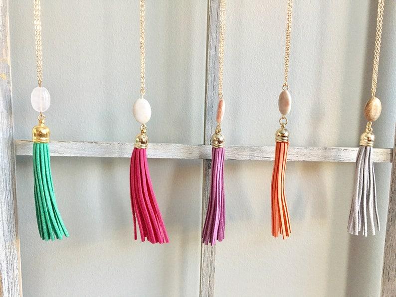 Pebble Tassel Necklace image 0