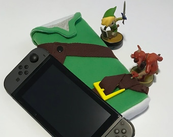 Green Tunic Nintendo Switch Case Legend of Zelda Gaming Accessory Carry Case Embroidery