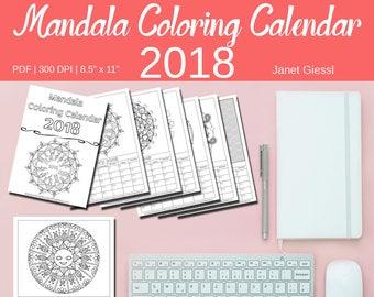Mandala Coloring Calendar 2018
