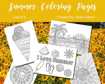 Summer Coloring Pages - Set of 5