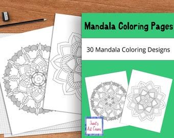 Mandala Coloring Pages - Set of 30