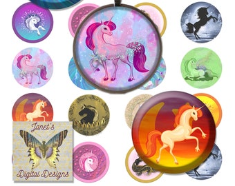 Digital Collage Sheets, Circle Images, Unicorns, 3 Sizes, 1 inch, 1.2 inch, 1.5 inch, Instant Download