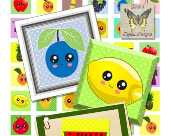 Digital Collage Sheets, Square Images, Kawaii Fruits, 2 Sizes, 1 inch, 2 inches, Instant Download