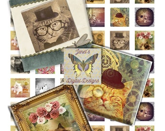 Digital Collage Sheets, Square images, Whimsical Cats, 2 Sizes, 1 inch, 2 inches, Instant Download