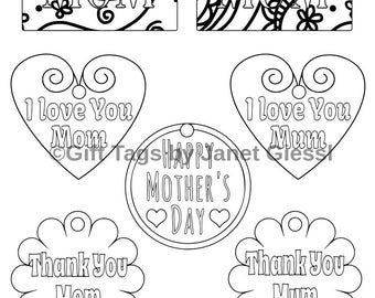 Mother's Day Coloring Gift Tags