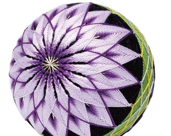 TEMARI balls complete KIT - Chrysanthemums for beginners- 9 cm (3.54 inch ) diameter, all you need is 20 marking pins and scissors