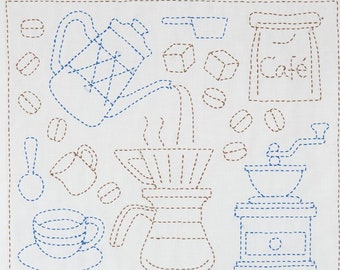 stitch on the preprinted line- approx white cotton sashiko pattern kit \u5bc4\u305b\u6a21\u69d8 \u7d2b 30 cm x 36 cm Bloom in layered square 11.8 inch x 14 inch