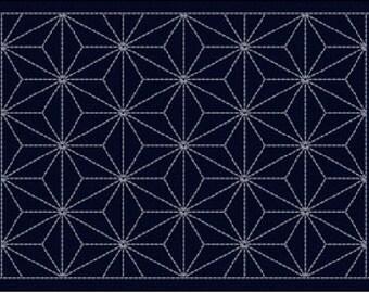 Indigo blue cloth 12.2 x17.7 inch Place mat Japan sashiko stitch on the preprinted line 31cm X45cm 2005