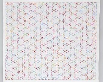 sakura kaleidoscope stitch on the preprinted line white cotton sashiko
