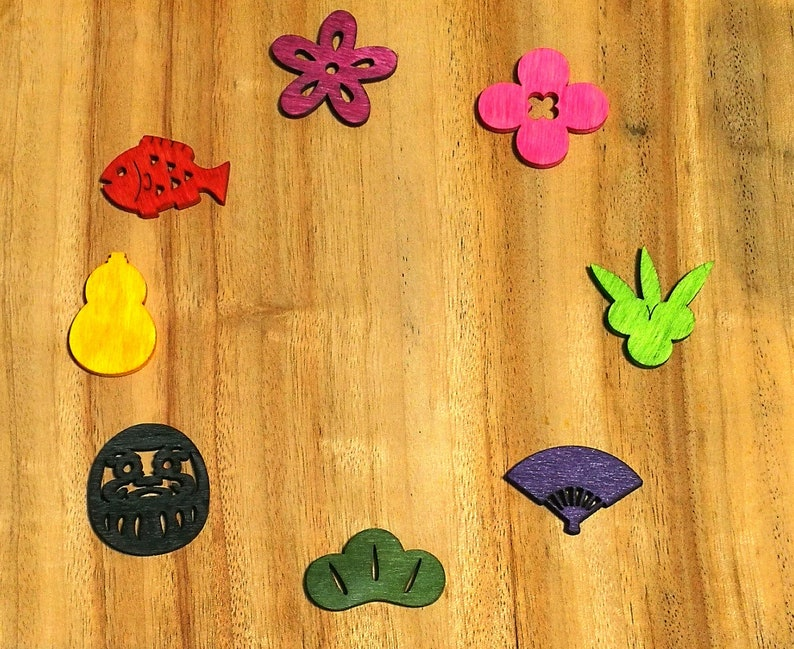 daruma flowers etc Wooden flake for decoration -eight 8 pieces- fish fan