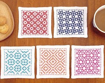 Sashiko complete Starter KIT - colorful coaster with pre-printed design, Needles, Fabric, five color of thread included-10 cm x 10 cm-