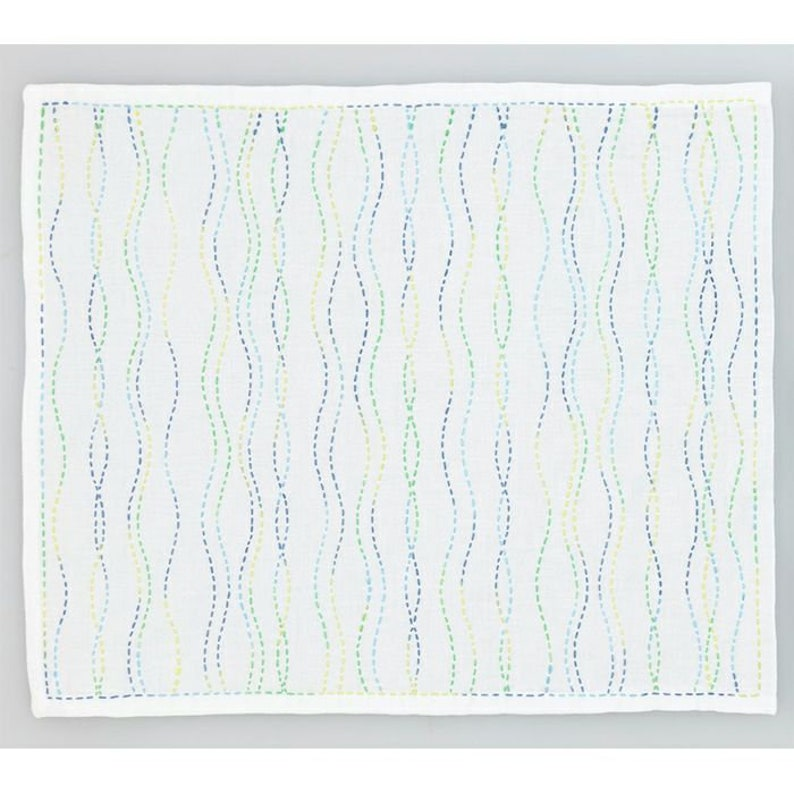 Steam  white cotton sashiko  stitch on the preprinted line image 0