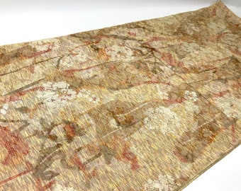 Japanese Vintage Kimono scrap -*Shadow of Spring* -*Beige,Pink and Yellow* - *15 inch x *60 inch -*0.40 yard x *1.67 yard