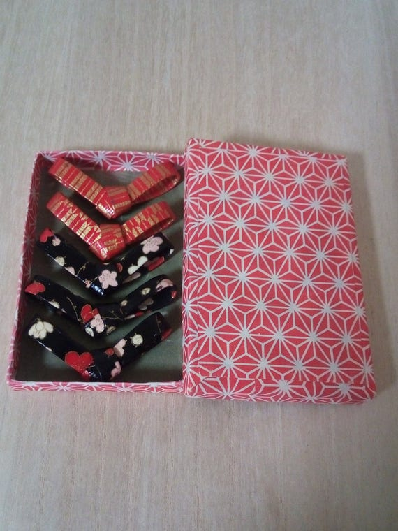Chopstick Rest  5 Lot Of Handmade Flower And Stripe Gold Black Red Chopstick Rest With An Original Japanese Paper Craft Box   Ribbon Shape  by Etsy