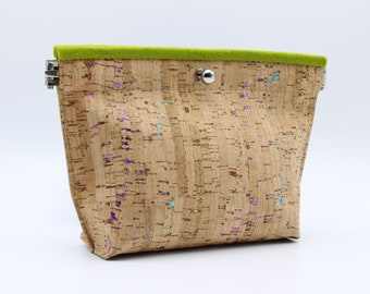 Cork and Felt Cosmetic/Accessory Bag