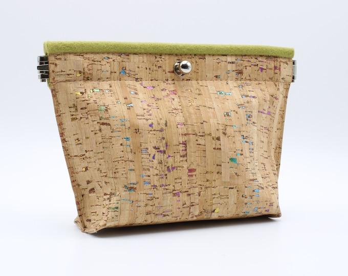 Cork and Felt Cosmetic/Accessory Bag