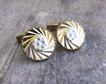b89d738f8da Vintage cuff link Gold cufflink Geometric cufflinks Mens accessory Vintage  cufflink Old cufflinks Groomsmen cuff link Retro wedding cufflink