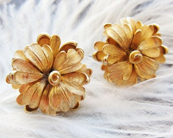 Boucher earrings Boucher jewelry Marcel Boucher signed clip on earrings 3d flower gold earrings 1960s' jewelry Cocktail earrings Gold flower