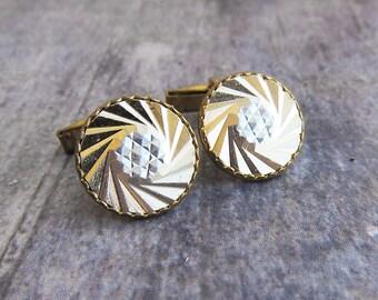 Vintage cuff link Gold cufflink Geometric cufflinks Mens accessory Vintage cufflink Old cufflinks Groomsmen cuff link Retro wedding cufflink