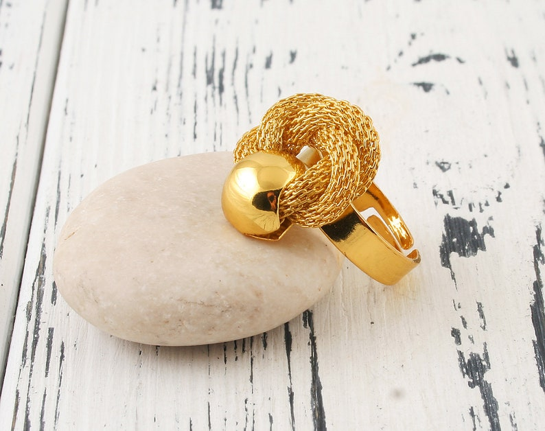 Chunky gold ring Adjustable ring Gold Chain ring Gold wide ring Twisted ring Knotted ring Texture ring Cocktail ring Disco ball ring Swirl