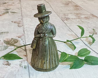 Vintage Brass Lady Bell - Solid Brass - Crinoline - Hand - Dinner - Visitor - Service - Butler - Tea Bell - Woman Figurine - Collectable