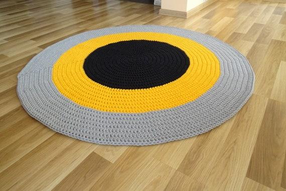 Teppich Rund Schwarz Teppich Rund Gelb Teppich Rund Grau Etsy