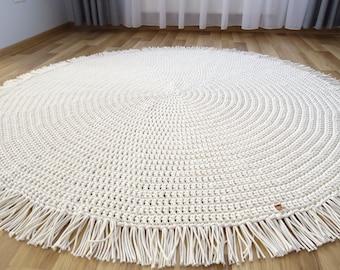 BOHO NURSERY RUG, Round Rug with Fringe, Boho Throw, Large Round Rug, Small Round Rug, Nursery Rug, Crocheted Rug, Rugs for Living room