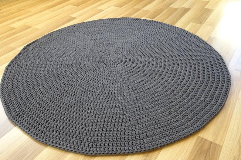 Gris scandinave tapis, tapis moderne, tapis de chambre d'enfant, gris tapis  ronds au crochet, tapis, vloerkleed, alfombra, teppich, tapis, doux rond ...