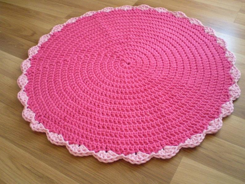 Rond tapis rose chambre rose au crochet tapis décoration | Etsy