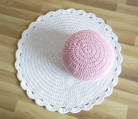 Crochet Blanc Tapis Rond Pour Chambre De Bebe Blanc De Fille Etsy