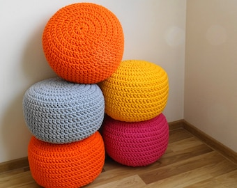 Round pouf  ottoman scandinavian, floor pillows, footstool, crochet pouf, cotton cord,kids pouf, stuffed pouf, sitzkissen, siege,nursery