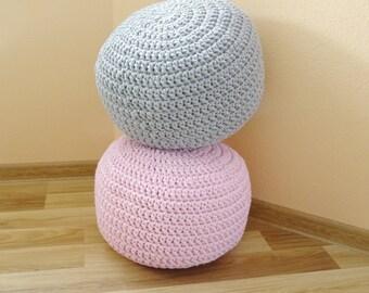 Superior Crochet Pouf, Round Pouf, Ottoman Scandinavian, Floor Pillows, Footstool,  Cotton Cord,kids Pouf, Stuffed Pouf, Sitzkissen, Siege,nursery