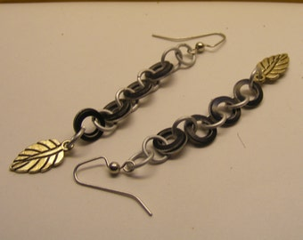 Silver and Black Chainmail Earrings with Leaf Charm