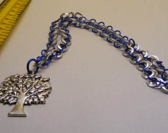 chainmail Blue and Silver Necklace with Tree Pendant
