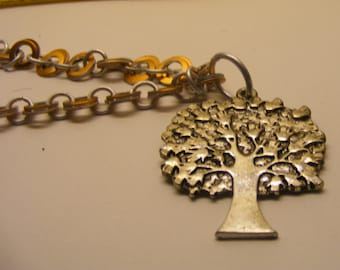 Chainmail Copper-Orange and Silver Necklace with Tree Pendant