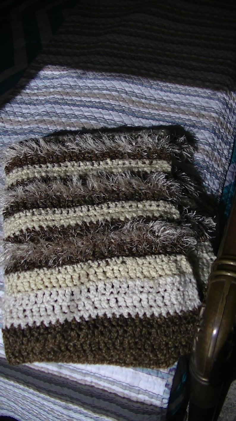 Handmade Crochet Lap Blanket/Shawl Cream and Brown Acrylic Yarn, Texture  Enhanced Areas Using Eyelash Yarn