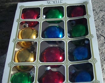 Vintage 12 Glass Ornaments by Noelle Made in USA Poplar Bluff, Missouri