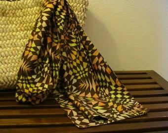 1970's Geometric Silk Scarf