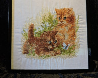 Wood Framed Completed Cross Stitch Wall / Table  Decor NEW larger sizes (12 x 15 or 11 x 14)